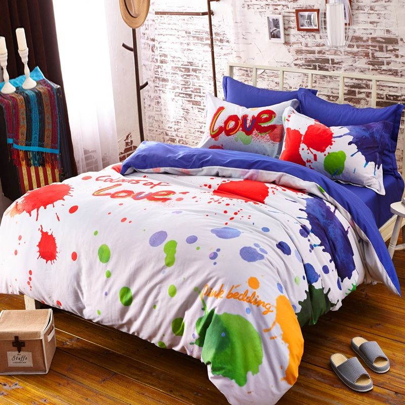 Red Orange And Green Colorful Splatter Paint Hipster Style Abstract Design Unique 100 Cotton Girls T Bedding Sets Colorful Bedding Sets White And Pink Bedding