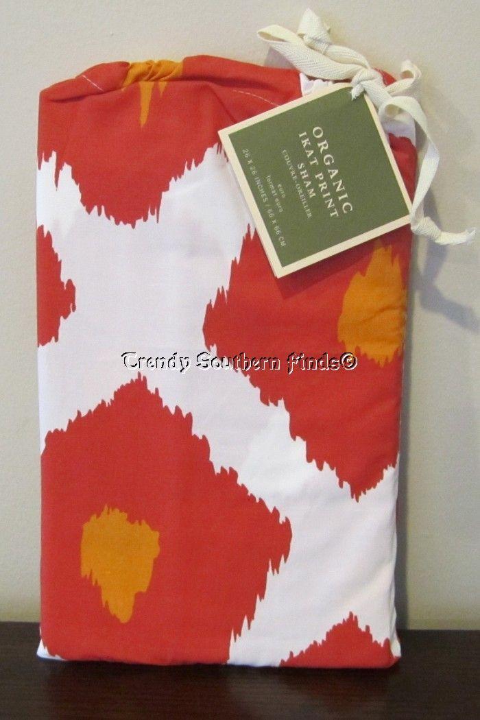 Pottery Barn Ikat Print Euro Organic Cotton Pillow Sham