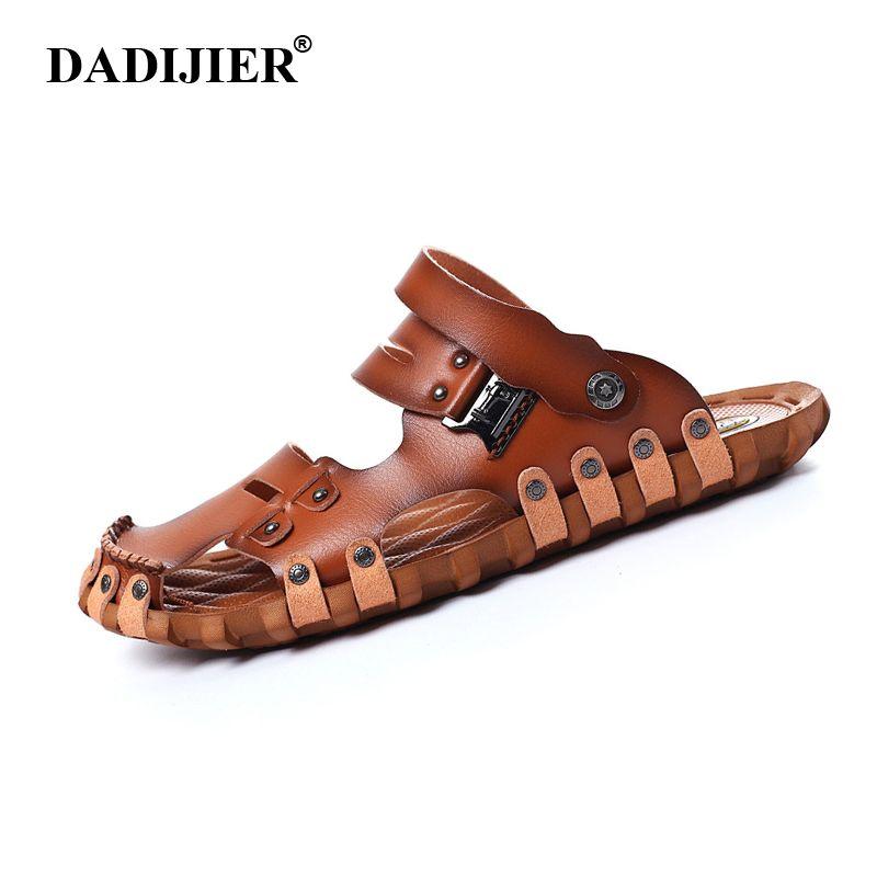 DADIJIER 2018 Fashion Style Man Sandals Casual Flat Heels Spilit Leather  Male Retro Beach Slipper Men s 84b787d7958d