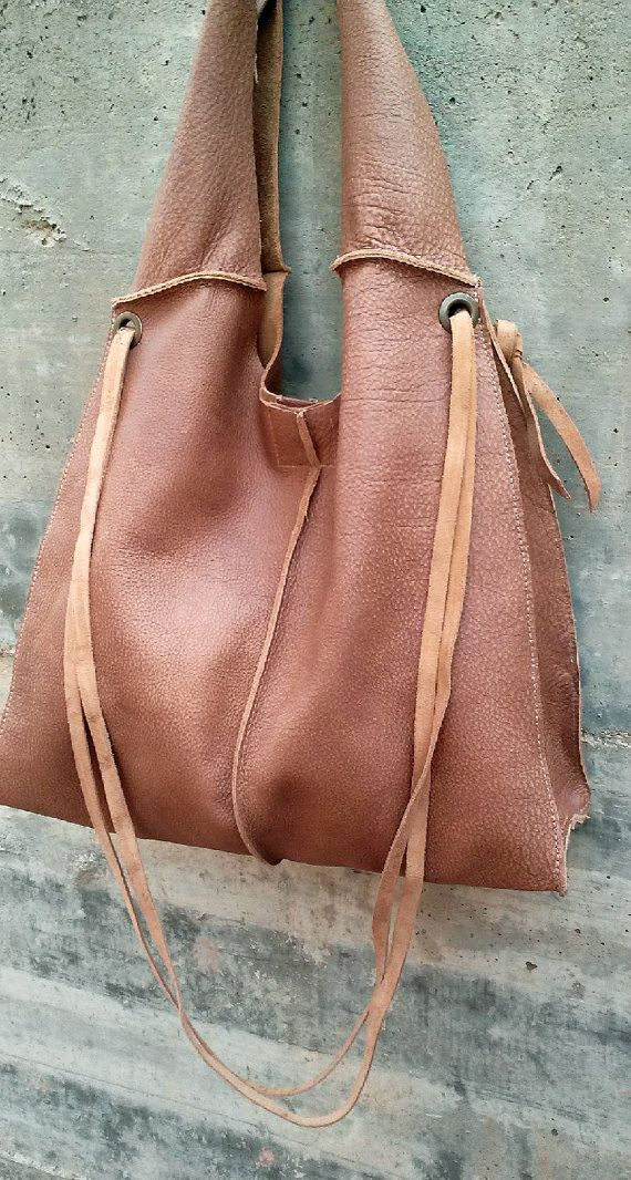 RUSTIC LEATHER BAG Boho style Distressed leather by OlgaGbarcelona