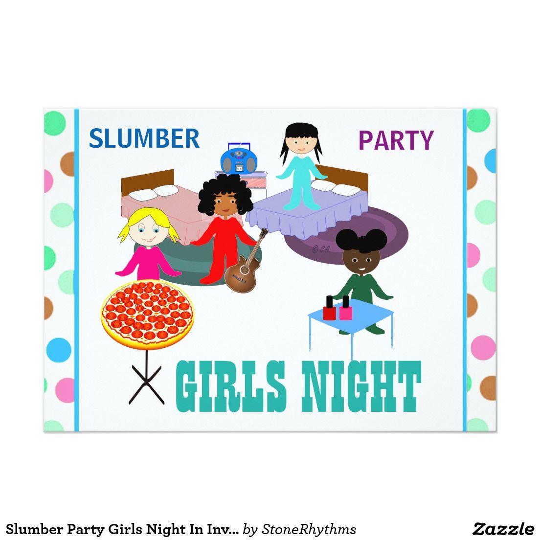 Slumber Party Girls Night In Invitation Cards