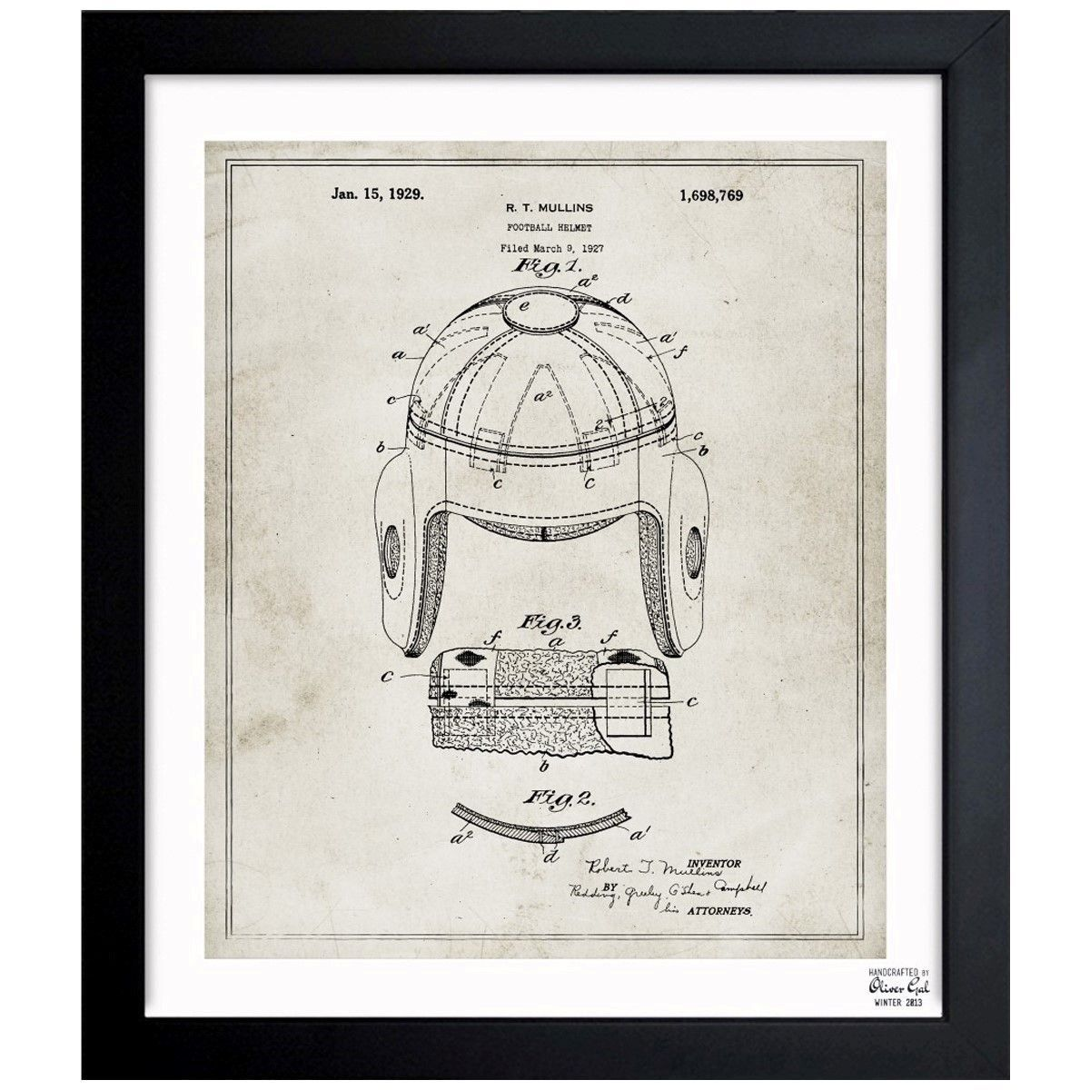 Oliver gal football helmet 1929 framed blueprint art by oliver exclusive blueprints inspired by real vintage patent drawings illustrations handcrafted in the oliver gal malvernweather Gallery