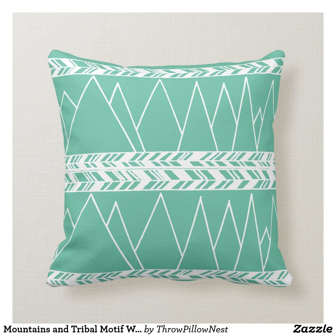 Mountains and Tribal Motif White on Mint Green Throw Pillow