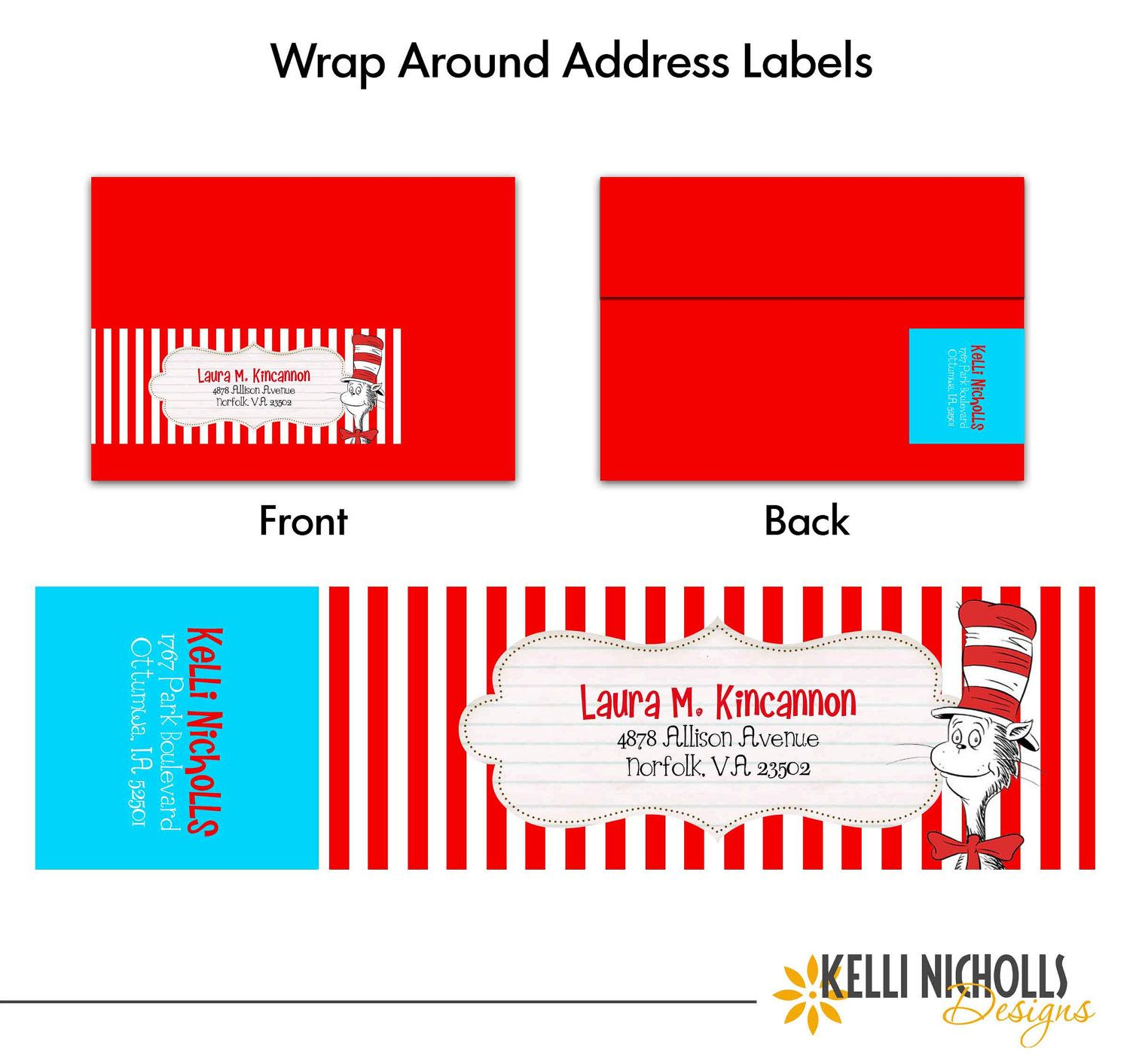 Cat In The Hat Wrap Around Return Address Labels  Via Etsy