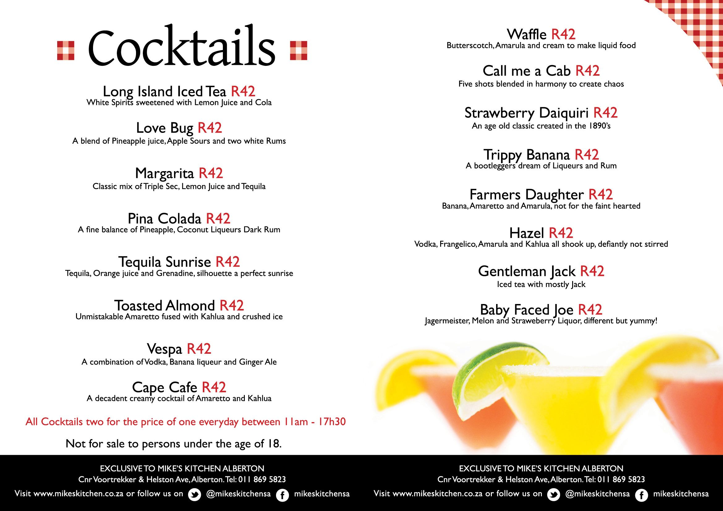 Mikes Kitchen Alberton Cocktail Menu All Cocktails Two For The Price Of One Everyday Between 11am 17h30 Cocktail Menu Cocktails Alberton