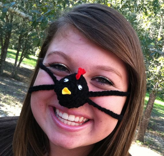 Black Chicken Nose Warmer Nose Cozy Crocheted Teen Adult Unisex