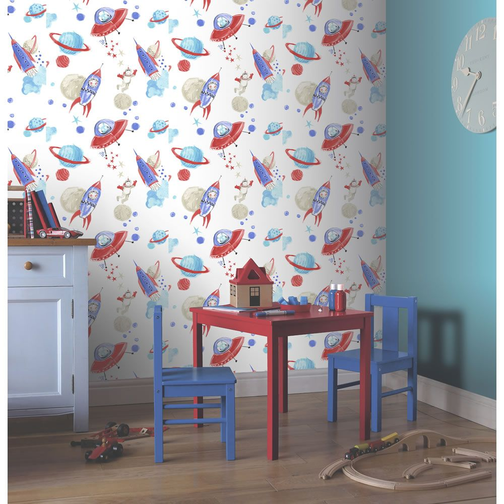 Arthouse Space Man Rocket Glitter Wallpaper Features Rockets Aliens Astronauts And Planets In A Lively Colour Scheme Fantastic For Childs Bedroom
