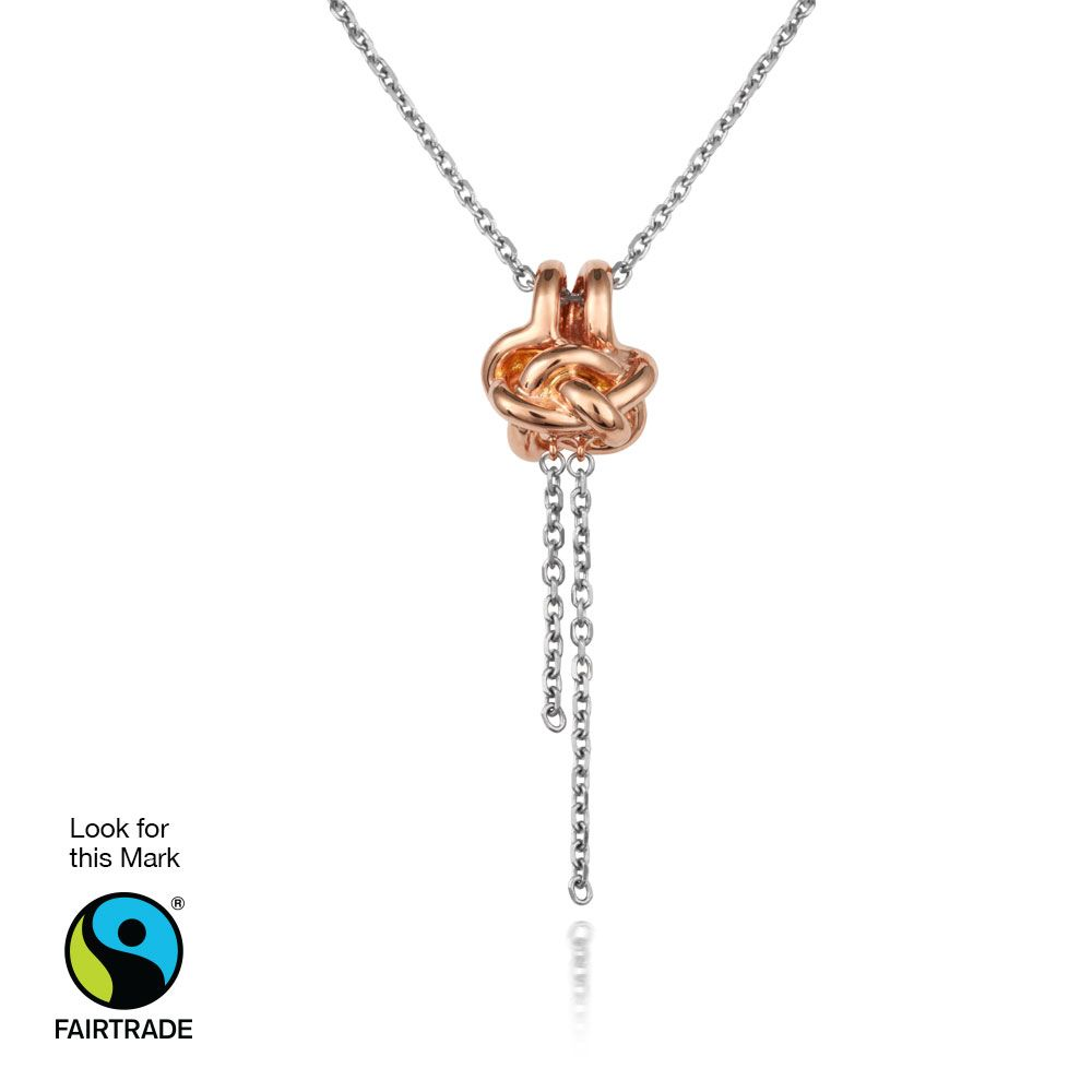 Cred Jewellery Tying The Knot Fairtrade Jewellery Collection Diamond Knot Pendant Made In Fairtrade Silver Or Rose Jewelry Diamond Knot Jewelry Collection