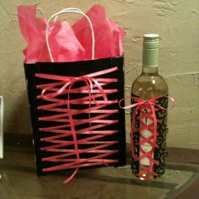 creative wrapping for a wine bottle and gift bag see more bridal shower gift ideas