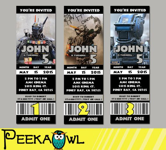 Printable Chappie 2015 Movie Invitation Ticket Chappie By