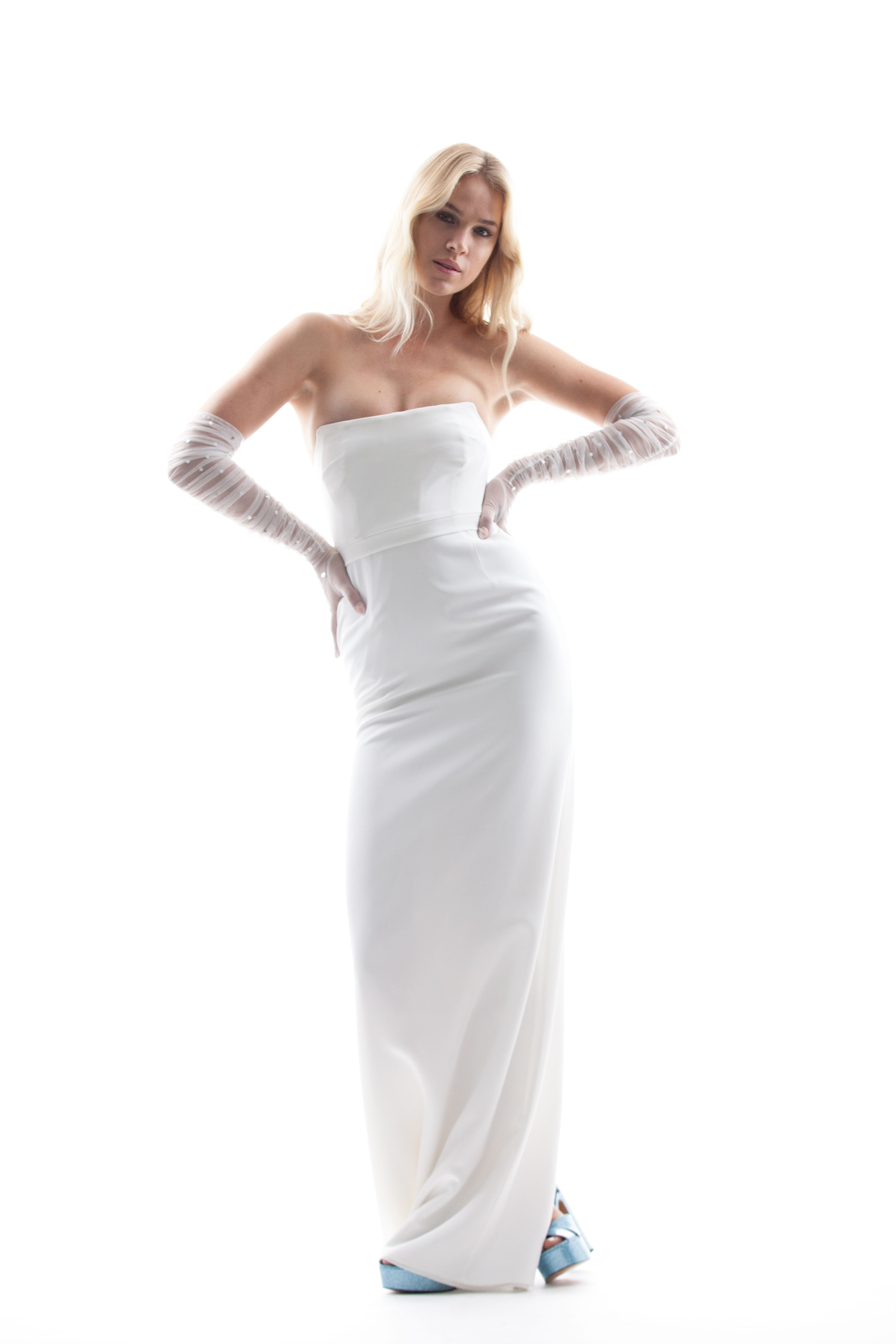 """Houghton NYC SS18 """"Lex"""" Strapless corseted column gown in"""