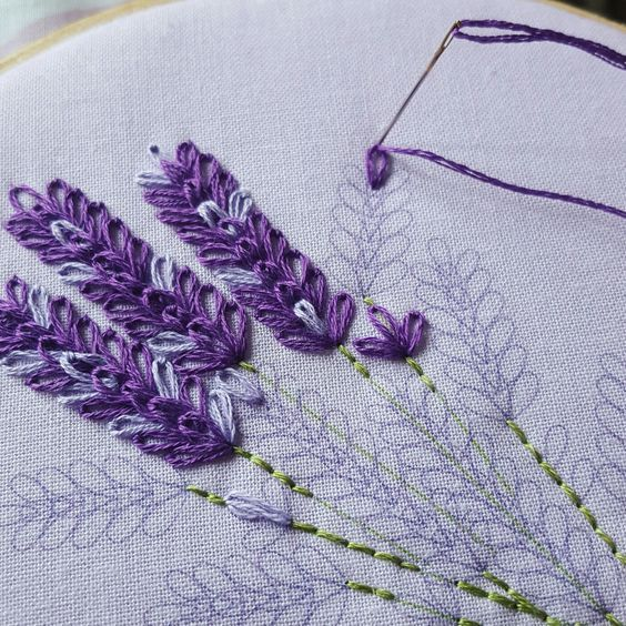 Lavender Embroidery Kit Mothers Day Gift Idea Wildflowers Hoop Art