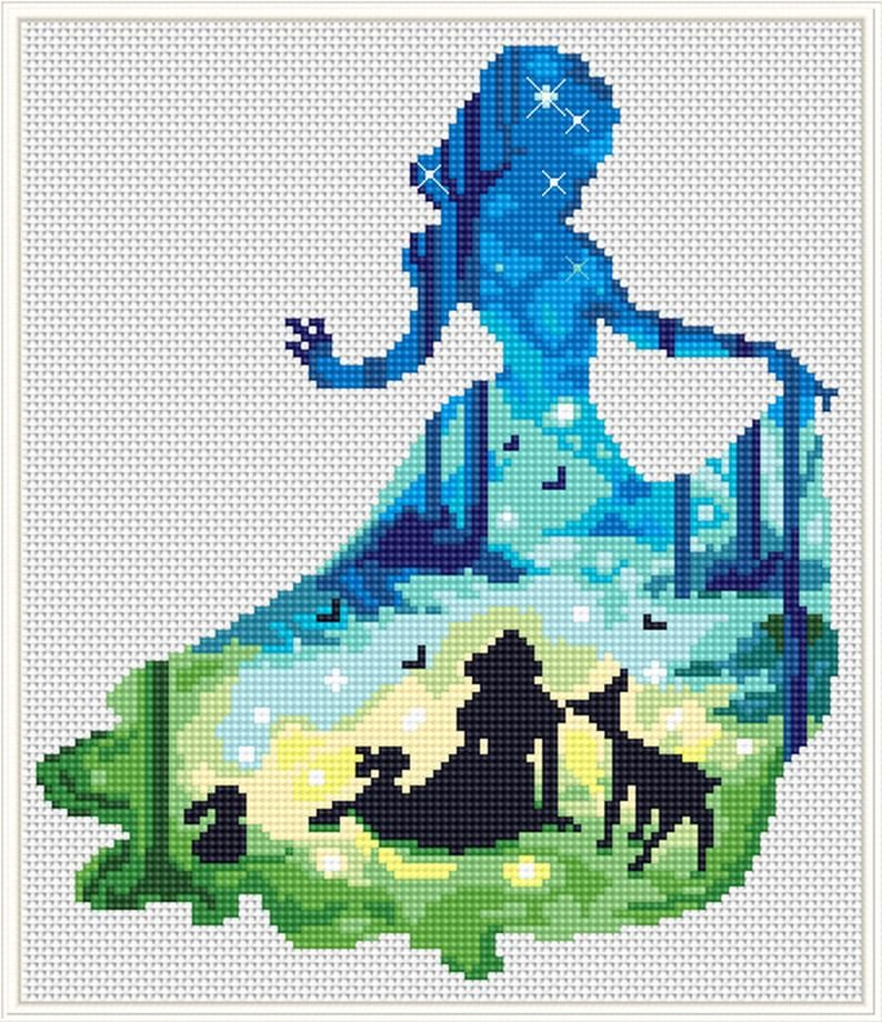 Princess cross stitch Modern cross stitch Silhouette Cross stitch pdf pattern Cute cross stitch Fantasy cross stitch Hoop art Eembroidery