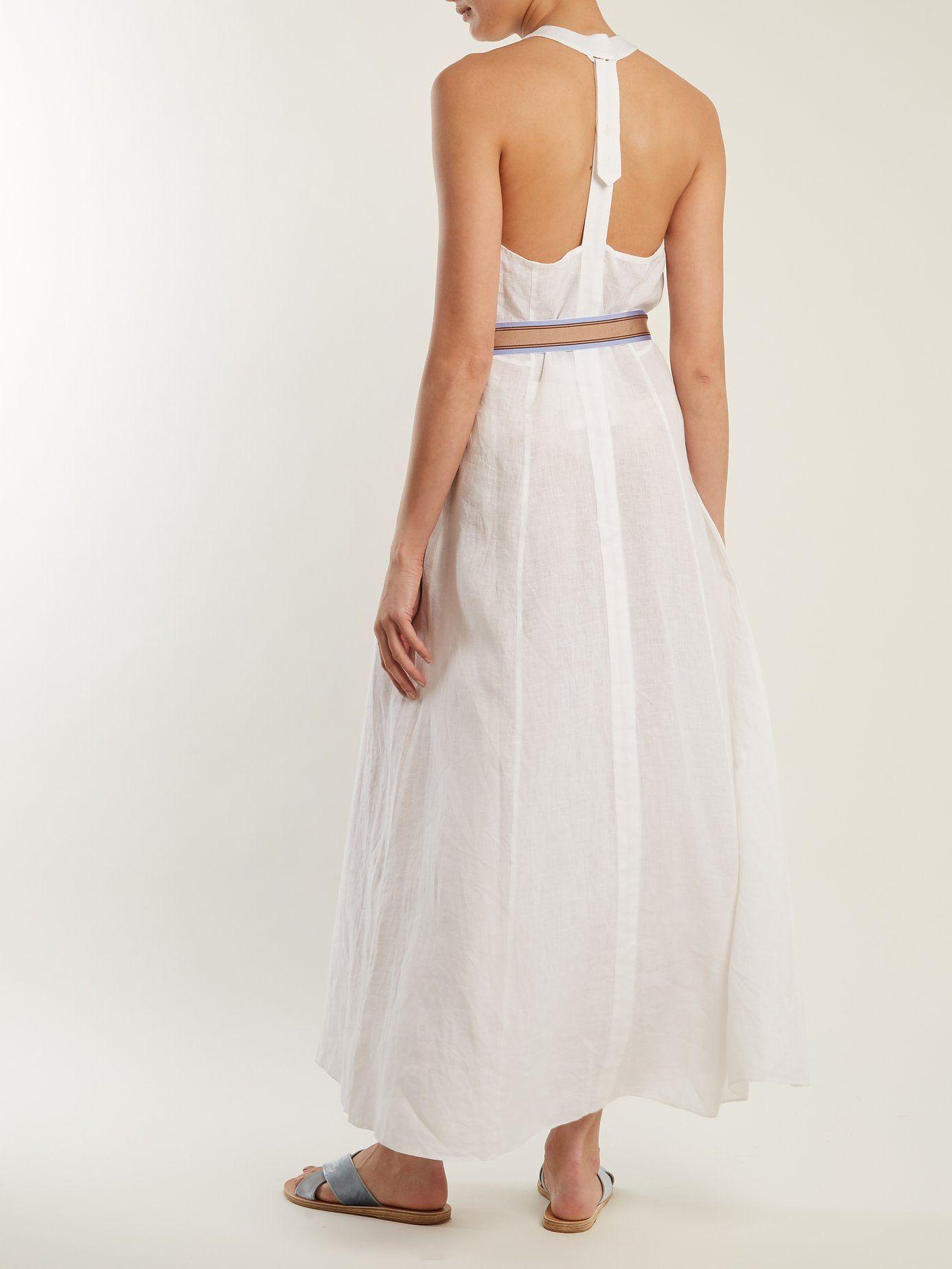 Deep V-neck linen dress Diane Von F 3llMMbyNhL