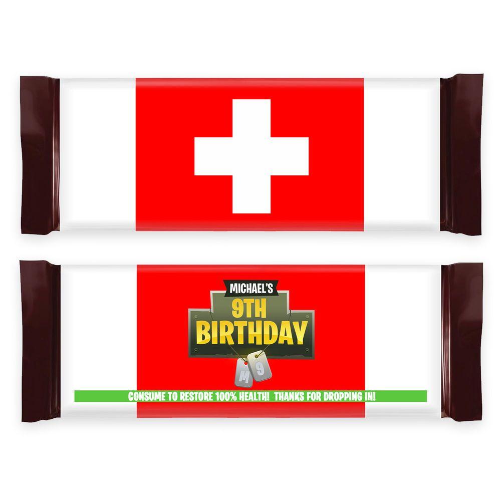 12 Fortnite Birthday Party Battleroyale Medkit Chocolate Bar Candy Wrappers Candy Wrappers Birthday Birthday Party