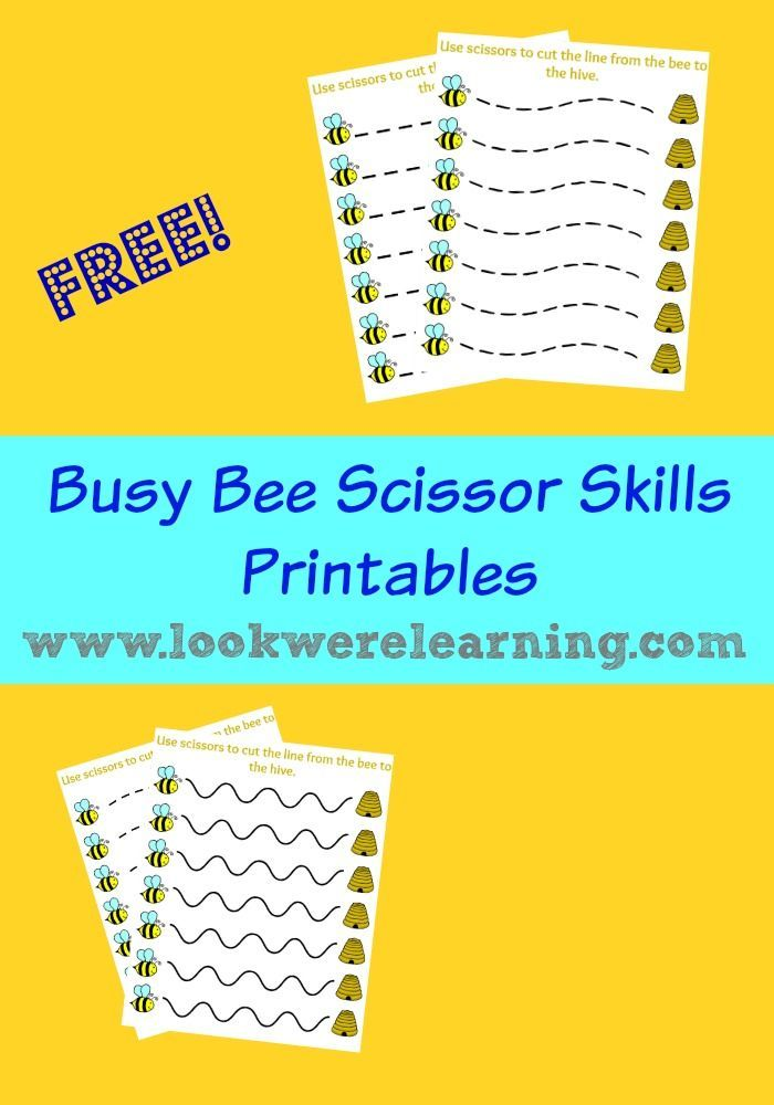 Free Busy Bee Scissor Skills Worksheets