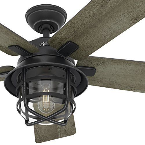Hunter fan 54 weathered zinc outdoor ceiling fan with a clear glass led light kit
