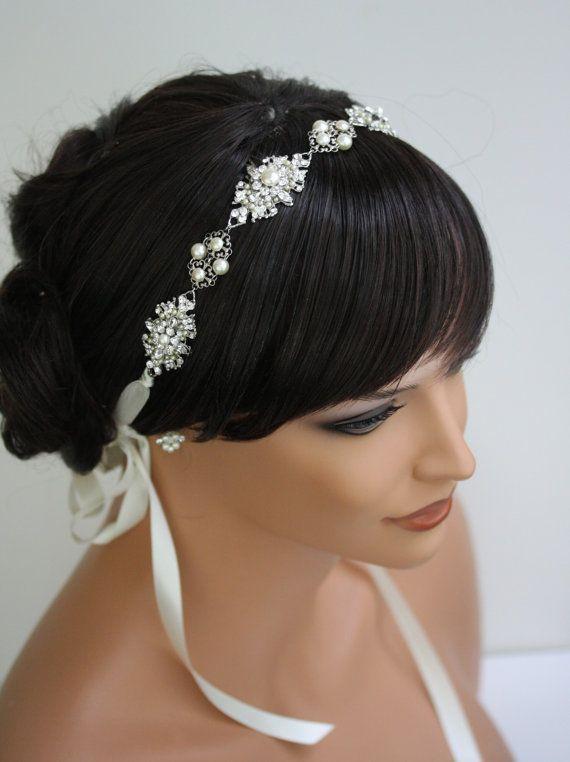Bridal Headband, Hair Jewelry, Wedding hair Accessories, Ribbon Headband, Pearl and Rhinestone Vintage Head Piece, MARCELLA Hair $175
