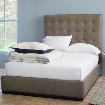 Leather Plinth Upholstered Bed Frame, Queen, Elephant