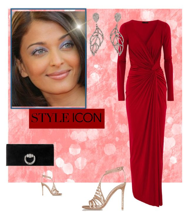 """Lady in RED"" by mashalykova ❤ liked on Polyvore featuring Donna Karan, Carole Shashona, Gianvito Rossi and Gucci"