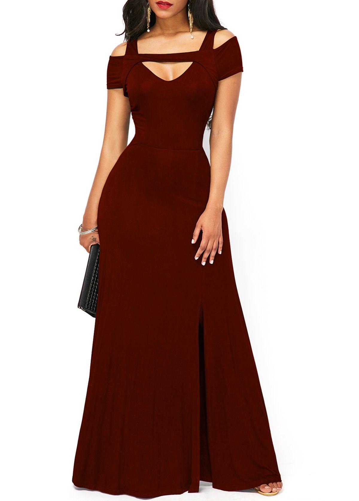 Zipper back cold shoulder front slit maxi dress wedding hostess