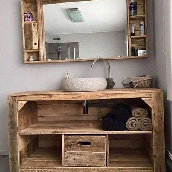 Upcycled Bathroom Ideas: This Upcycled Pallet Vanity Is Incredible! . . . #pallets