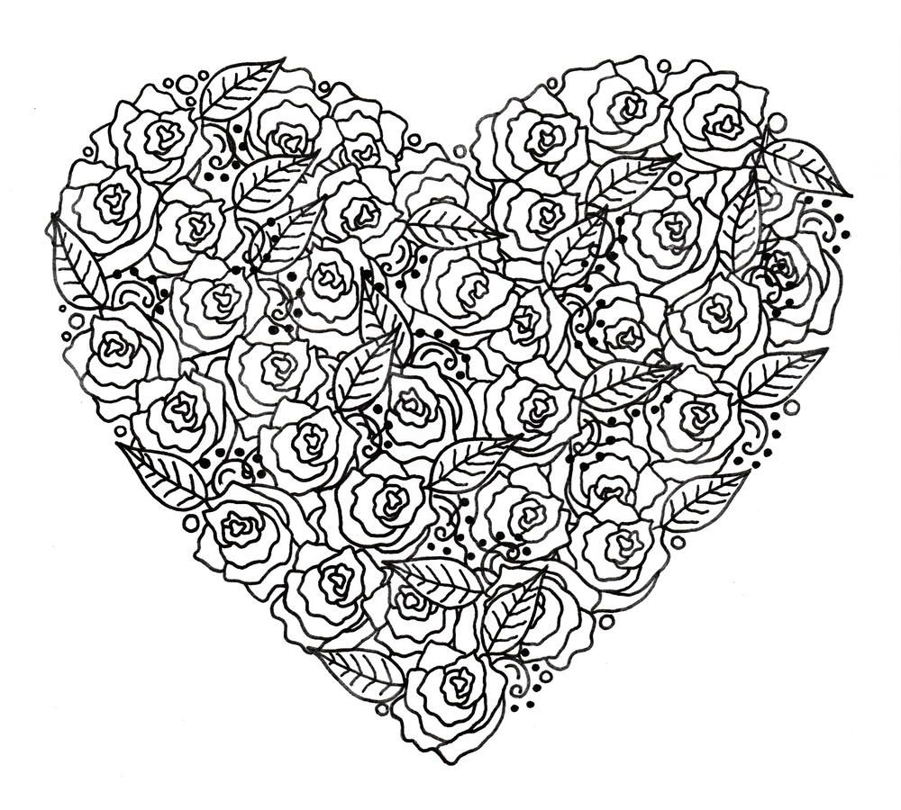 Rose Garden Heart Adult Coloring Page Garden Coloring Pages