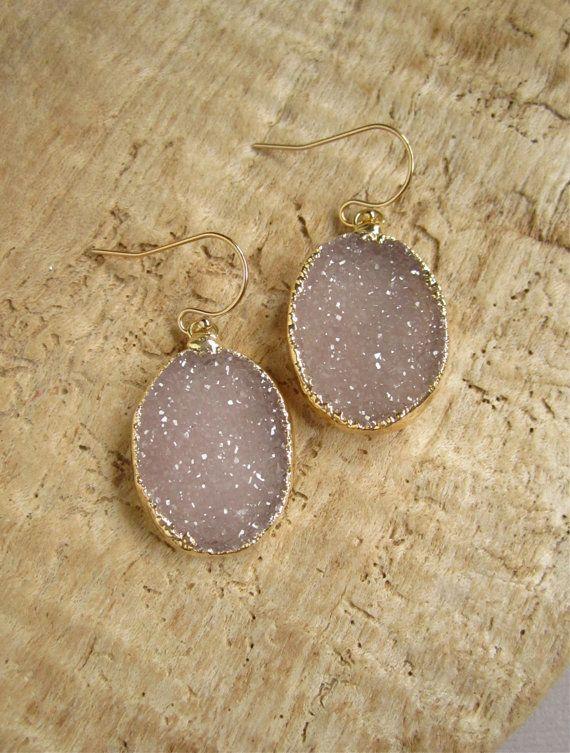 Sand Druzy Earrings Oval Druzy Drops Drusy by julianneblumlo, $84.00