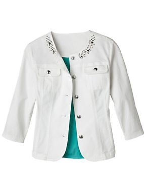 This summer jacket comes in a medium-weight denim and boasts bejeweled trim, silver buttons, decorative front seams and a neckline treatment for a touch of glam! | Normthompson.com #Glam #Sparkle #JeanJacket
