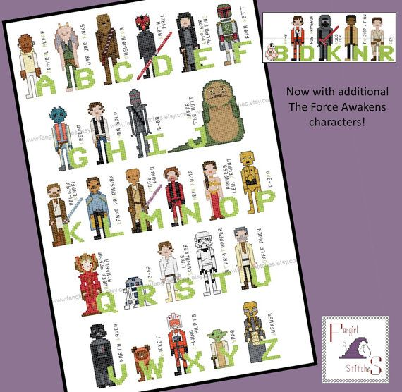 Star Wars Themed Alphabet of Characters Cross Stitch  PDF