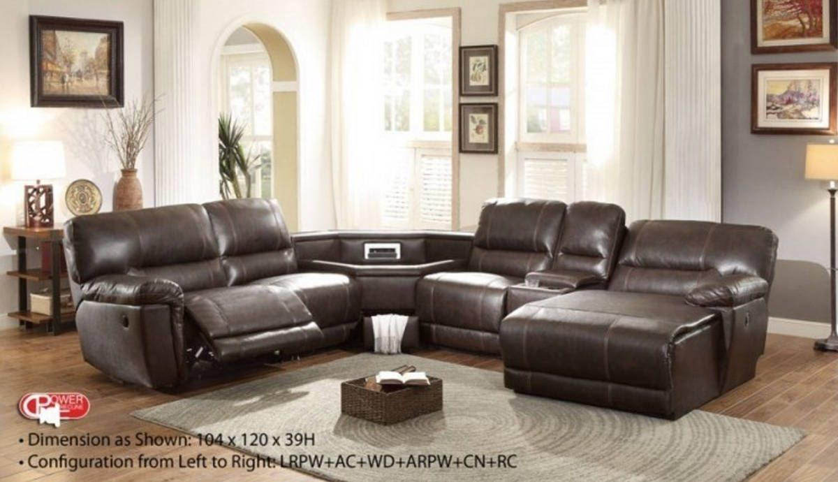 Blythe Ii Casual Dark Brown Faux Leather Sectional W Wedge Sectional Sofa With Recliner Leather Couch Sectional Reclining Sectional