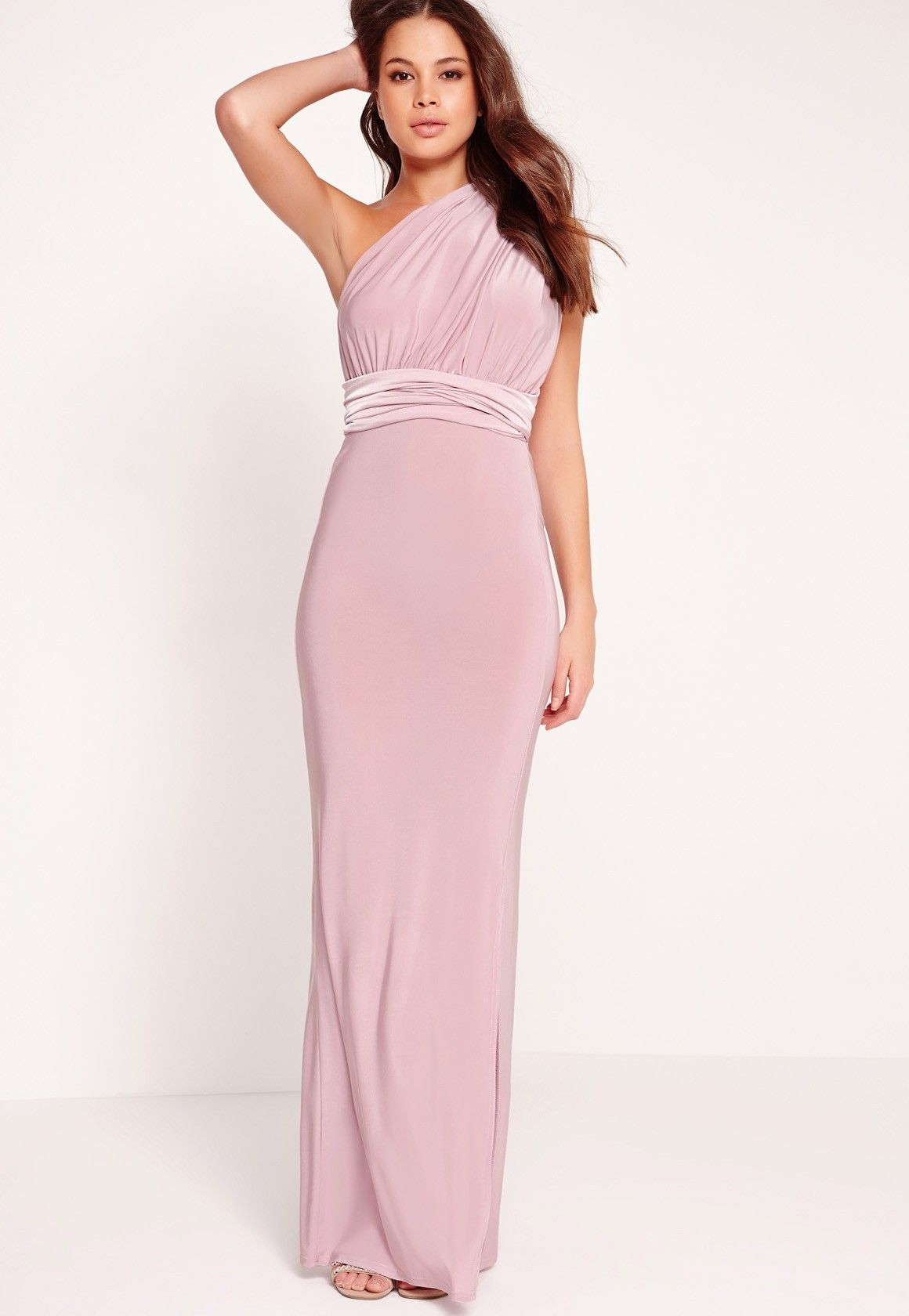 Missguided - Slinky Multiway Maxi Dress Lilac | Bridesmaids | Pinterest