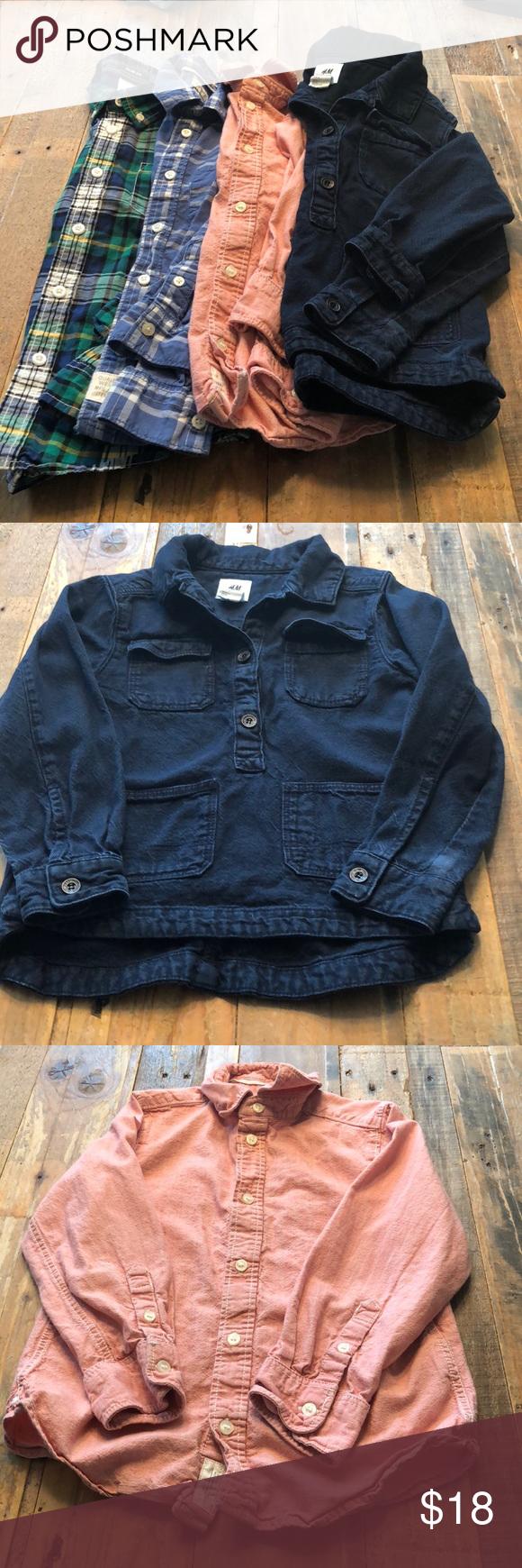 9d2bf67042e Back to school shirt bundle! 4 boys button down shirts. All in great shape. Dark  blue heavy denim shirt H M studio collection size 5-6yrs