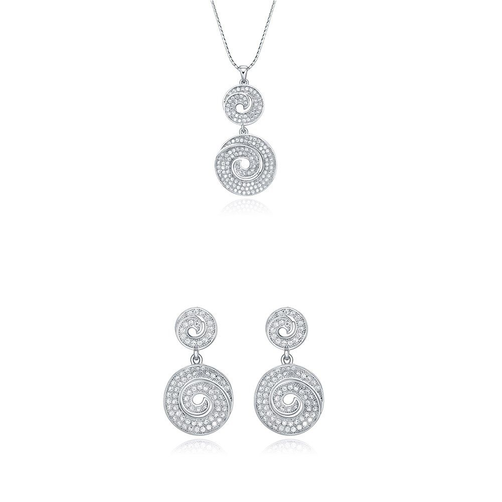 Jewelry set sterling silver round swirl pendant necklace u dangle