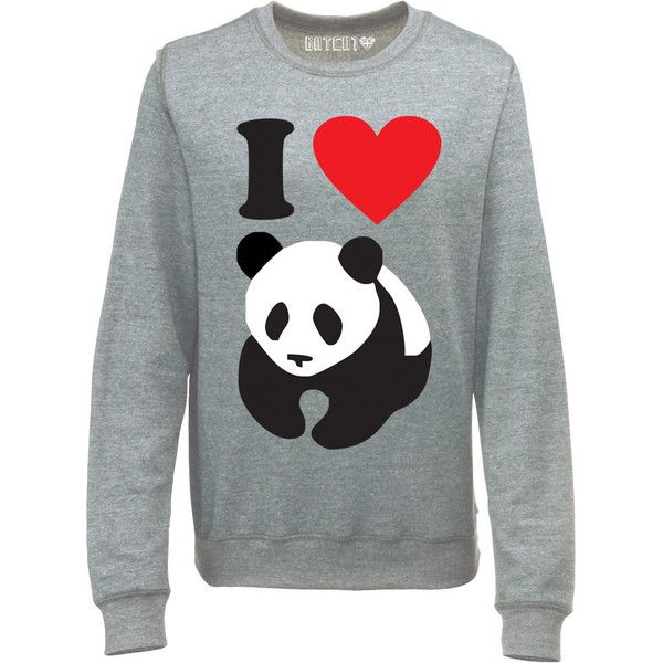 386bd596f07 I Love Pandas Womens I Heart Panda Super Soft Printed Sweatshirt... ($38) ❤  liked on Polyvore featuring tops, hoodies, sweatshirts, grey, women's  clothing, ...