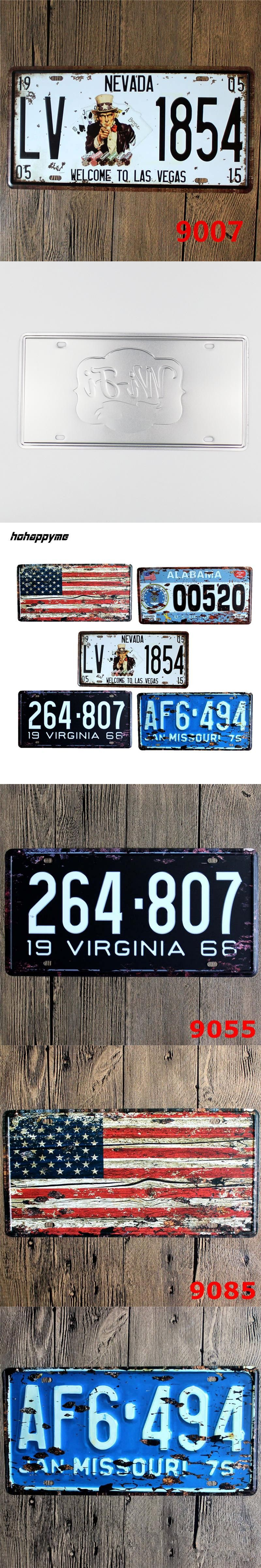 Decorative Wall Signs Custom 15*30 Cm United States Cities License Plates Metal Car Signs Inspiration