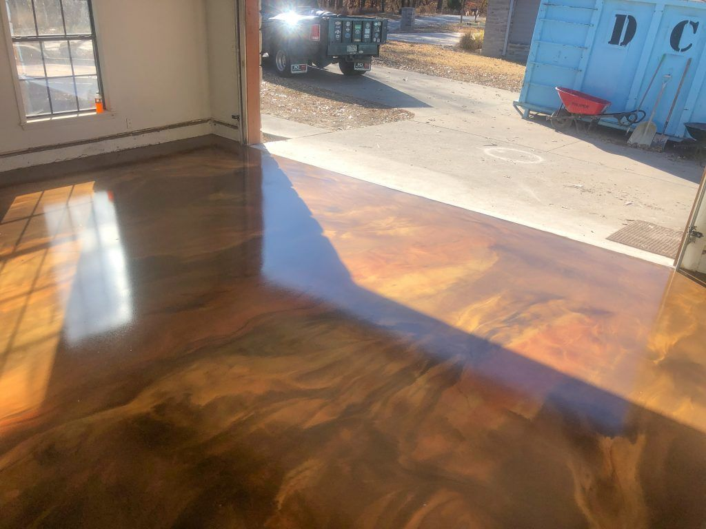 Metallic Marble Epoxy Floor Gold, Brown, and Copper