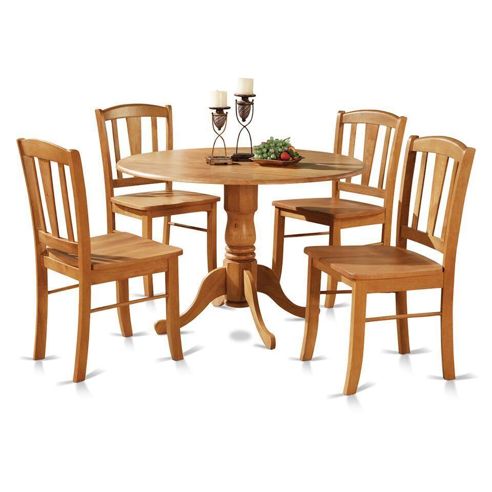 Pc round pedestal drop leaf kitchen table chairs kitchentable