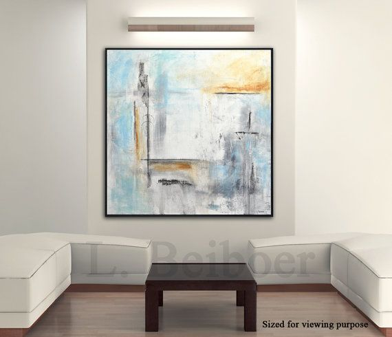 Painting original abstract square large painting blue white acrylic ...