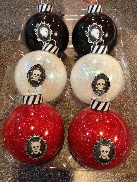Red black and white skull ornaments Creepy christmas