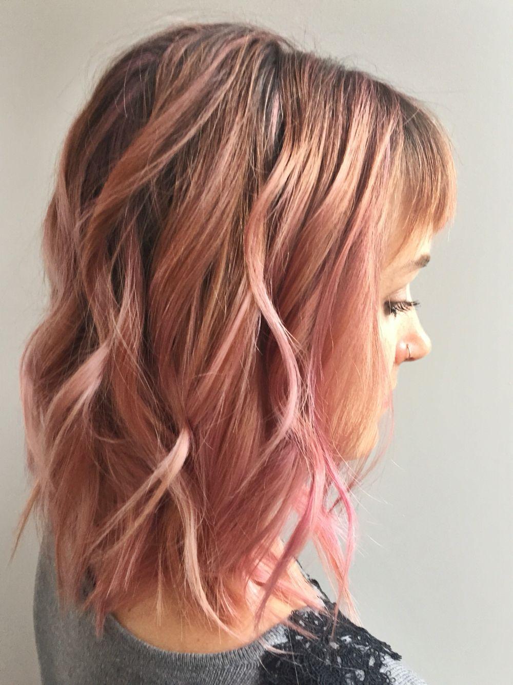 Pink Hair Rose Gold Hair Peach Hair Fun Hair Colors Medium Length Hair Pink And Blonde Hair Pastel P Peach Hair Cool Hair Color Medium Length Hair Styles
