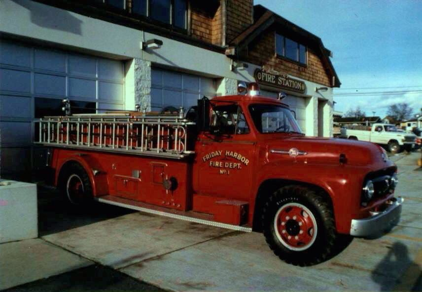 Friday Harbor Fire Department Engine 1; 1953 Ford/Howard Cooper 600/300.  In service 1953-1985; first motorized apparatus built for the Town of Friday Harbor.