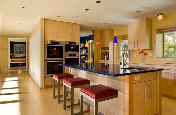 Vibrant primary color accents work beautifully with natural wood and stone the perfect place to