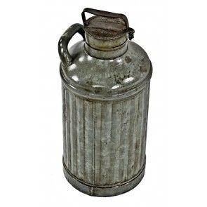robust early 20th century antique american industrial fluted galvanized steel five gallon chicago service station oil can with intact threaded screw cap