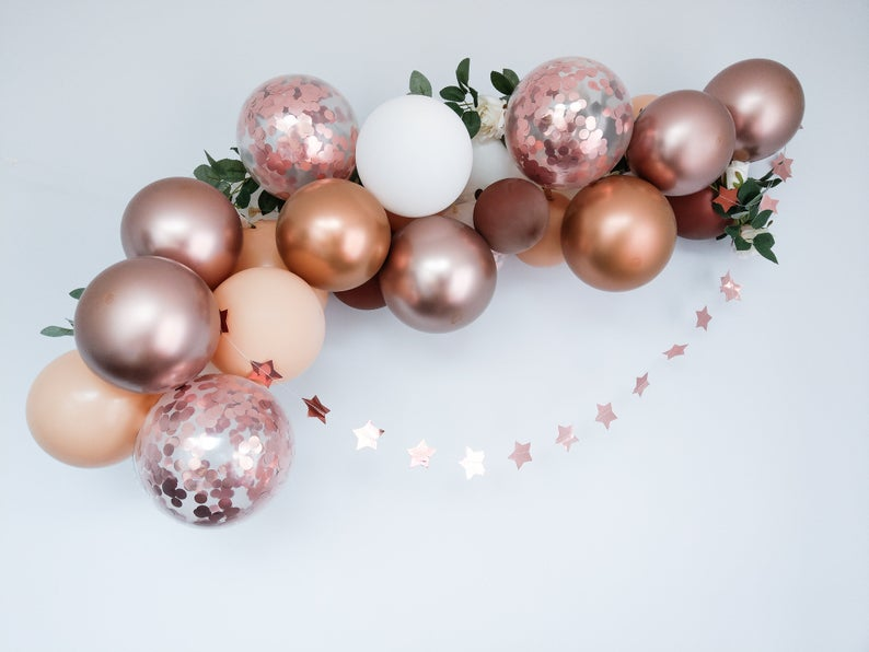 Rose Gold Balloon Arch Kit Garland Birthday Confetti Hen Party Decorations  Chrome Copper Blush Wedding #balloonarch