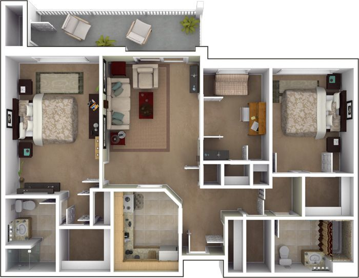 Three bedroom flat layout google search houses - Architectural plan of two bedroom flat with dining room ...