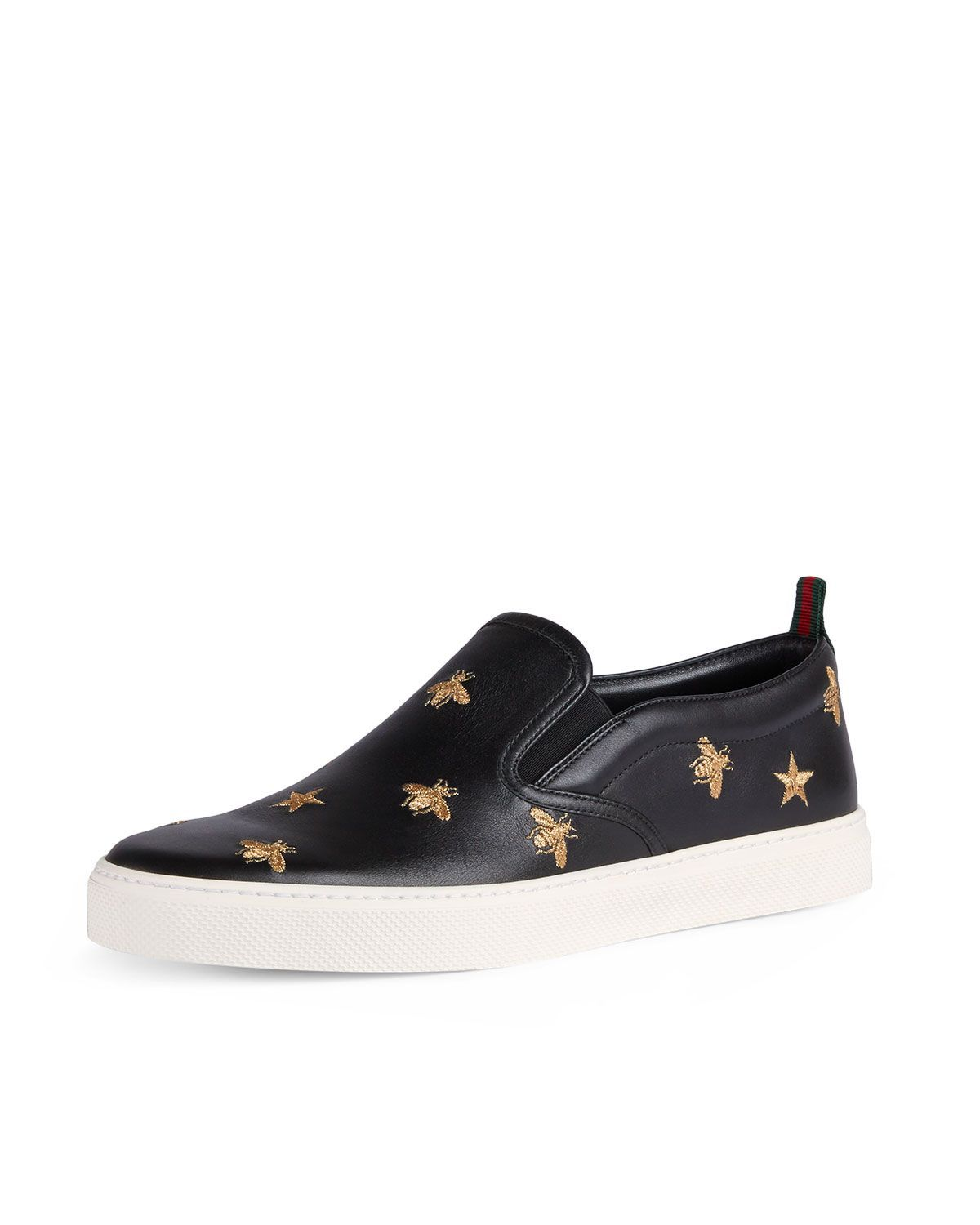 7711bb59777 Men s Dublin Bee   Star Embroidered Leather Slip-On Sneakers in 2019 ...