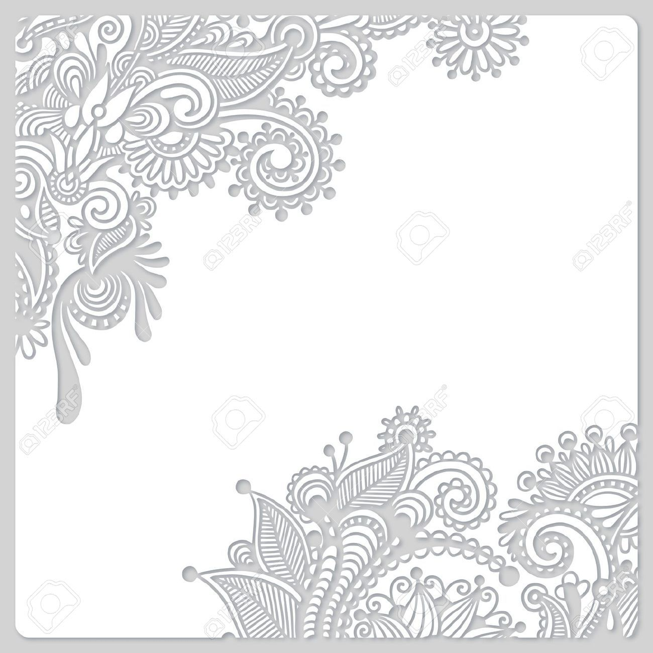 18385288 Abstract Modern Floral White Paper Cut Design