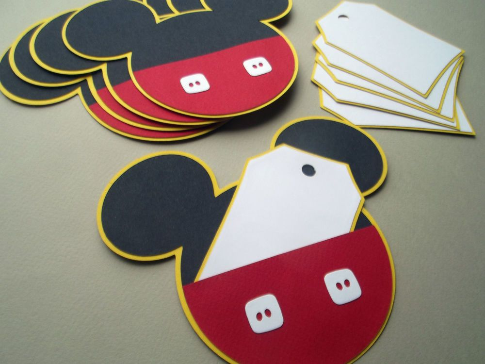 6 Cute Mickey Mouse Handmade Party Invitations Ready Made for your