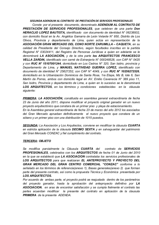 Segunda adendum al contrato de prestaci n de servicios Contrato de trabajo indefinido servicio hogar familiar